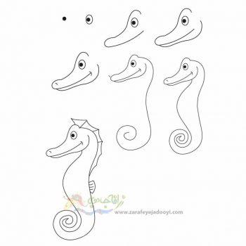 زرافه جادویی-نقاشی ساده اسب دریایی