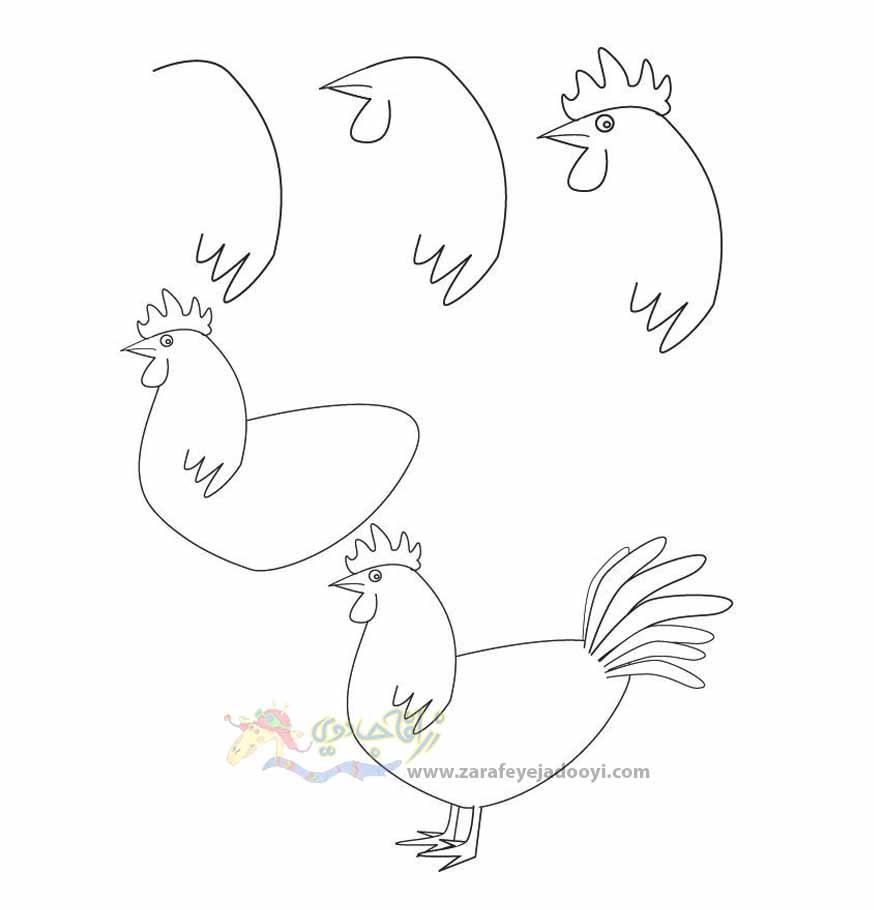 نقاشی ساده خروس