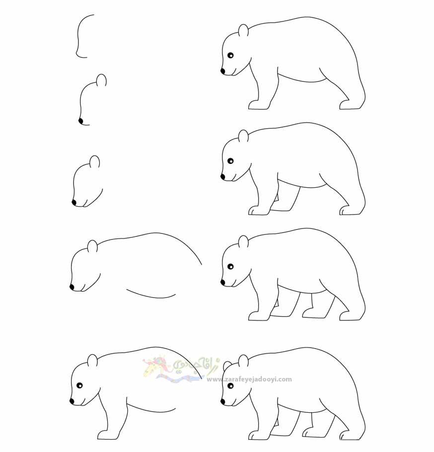 زرافه جادویی-نقاشی ساده خرس