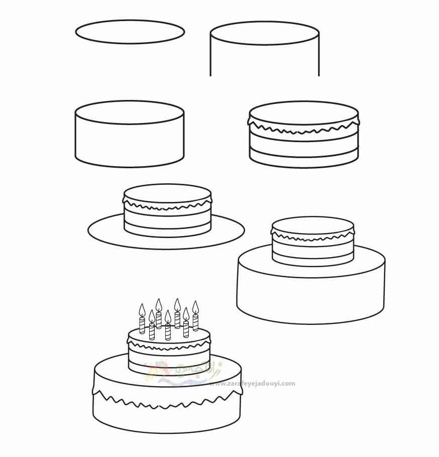 زرافه جادویی-نقاشی ساده کیک تولد