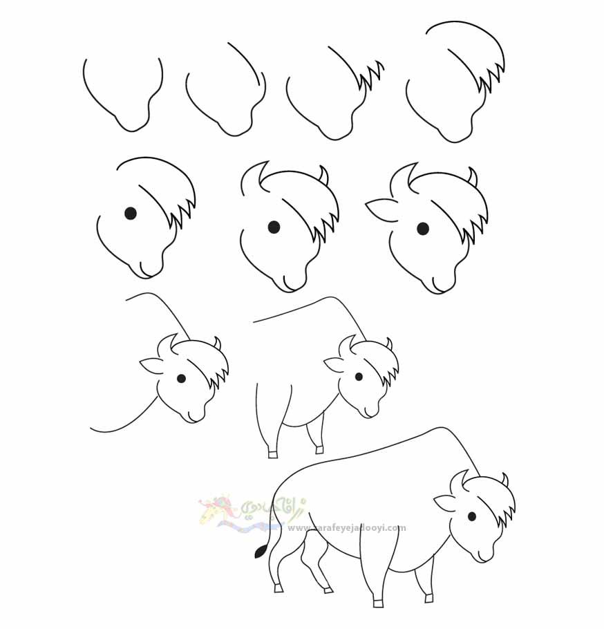 آموزش قدم به قدم نقاشی ساده بوفالو