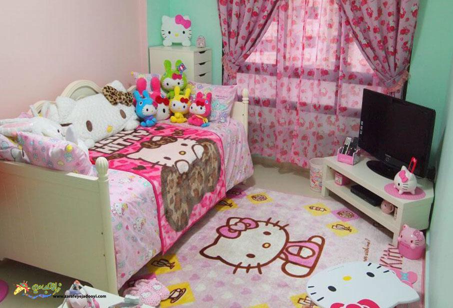 اتاق خواب دخترانه با ترکیب رنگ صورتی