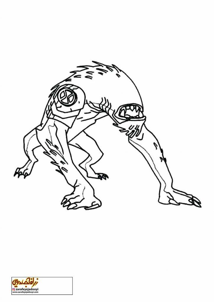 طرح کارتونی رنگ آمیزی بن تن 8 - نقاشی موجودات بن تن برای کودکان