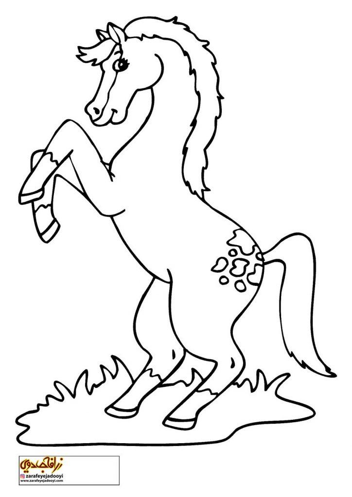 نقاشی ساده اسب برای رنگ آمیزی کودکان - نقاشی اسب برای کودکان 2