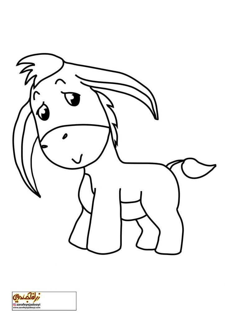 نقاشی ساده الاغ برای رنگ آمیزی کودکان - نقاشی الاغ برای کودکان 2