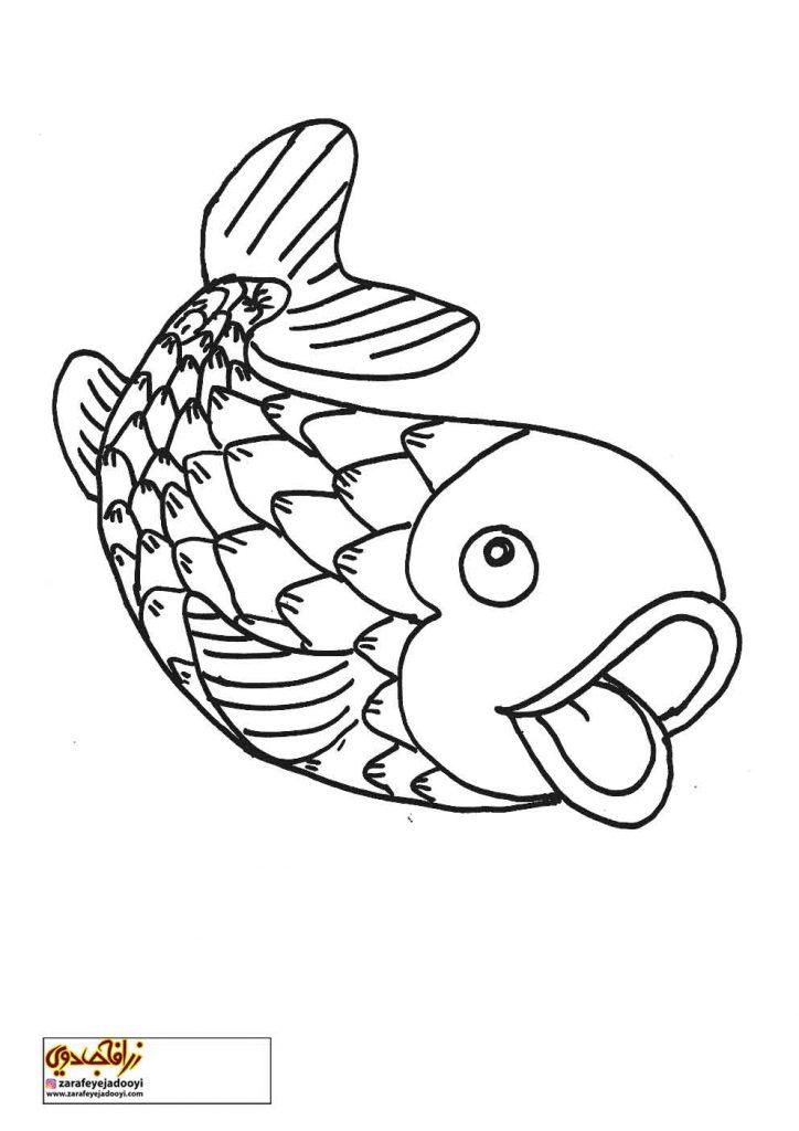 نقاشی ساده ماهی برای رنگ آمیزی کودکان