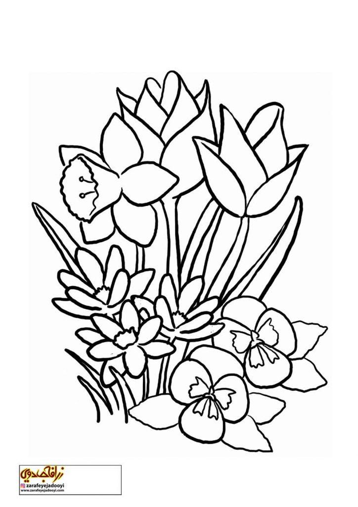 طرح رنگ آمیزی و نقاشی گل برای کودکان 5
