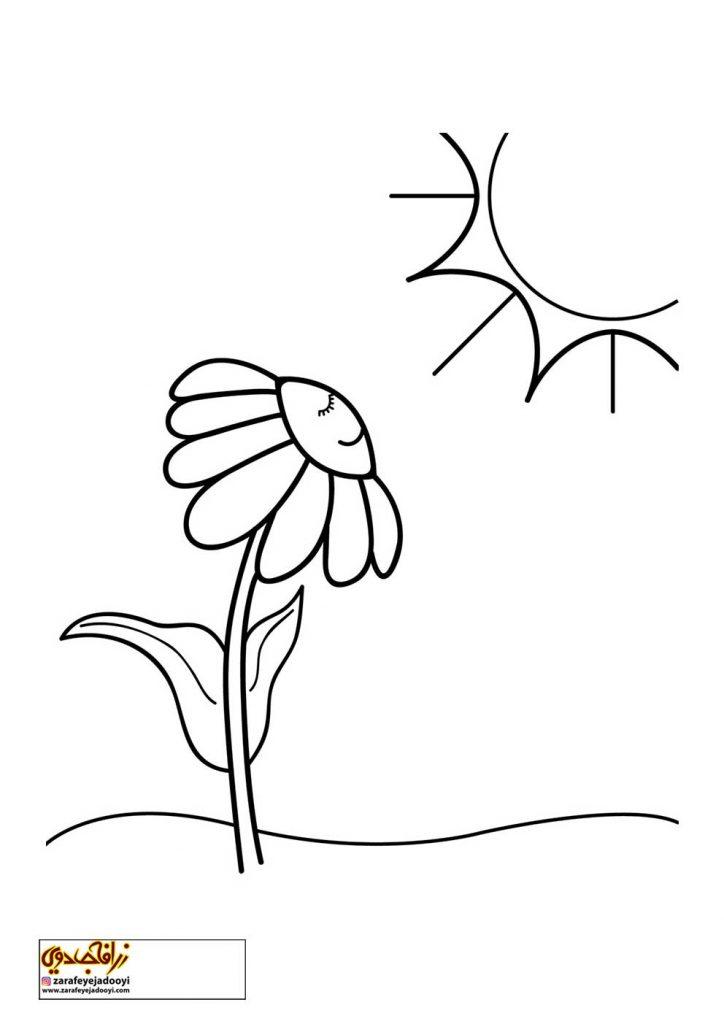 طرح رنگ آمیزی و نقاشی گل برای کودکان 12