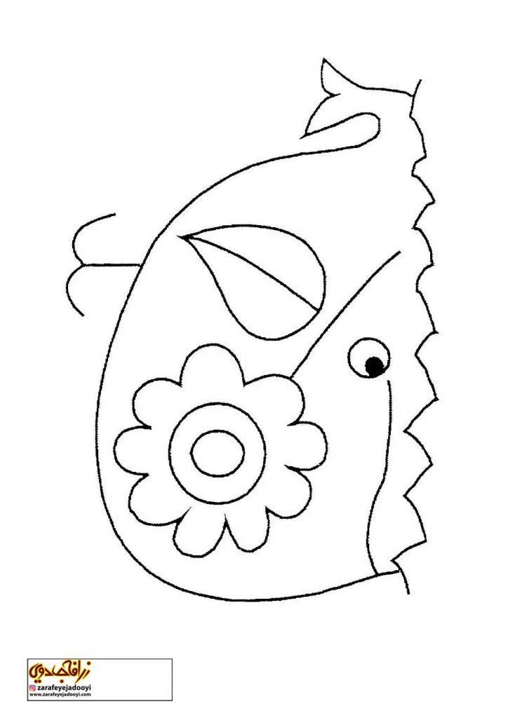 نقاشی ساده نهنگ برای رنگ آمیزی کودکان