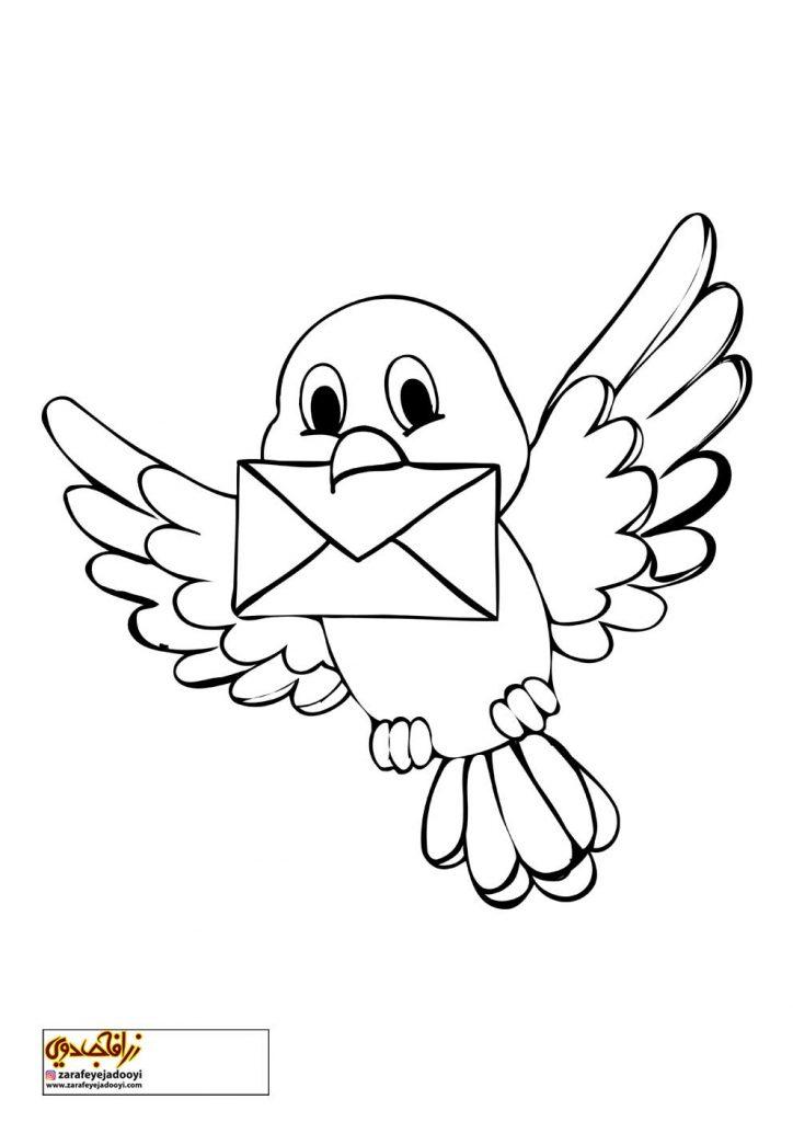 نقاشی ساده پرنده نامه رسان برای رنگ آمیزی کودکان