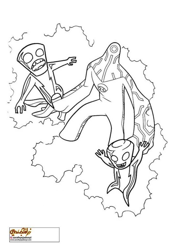 طرح کارتونی رنگ آمیزی بن تن 33 - نقاشی موجودات بن تن برای کودکان