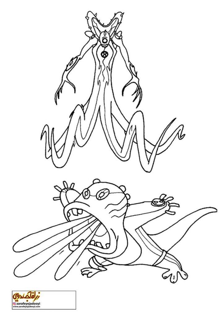 طرح کارتونی رنگ آمیزی بن تن 35 - نقاشی موجودات بن تن برای کودکان