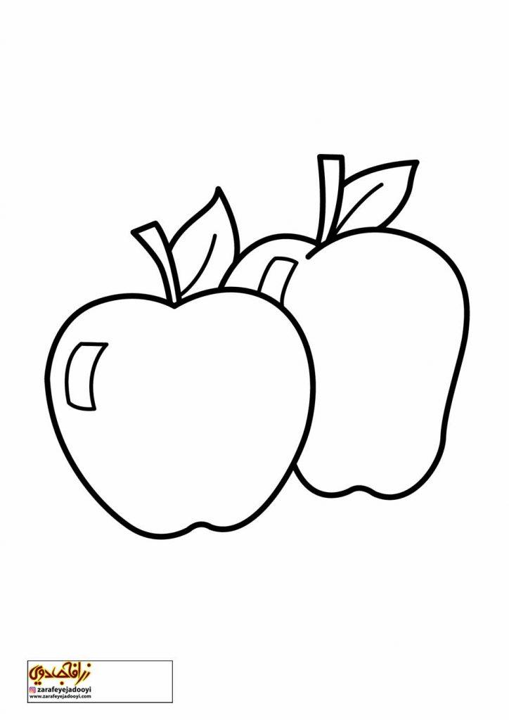 رنگ آمیزی نقاشی میوه سیب 1