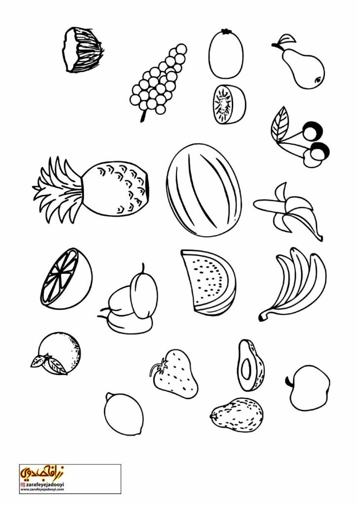 نقاشی میوه ها برای رنگ آمیزی