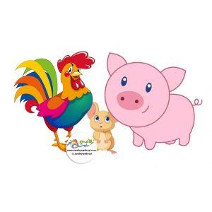 نقاشی کودکانه از مرغ و خروس