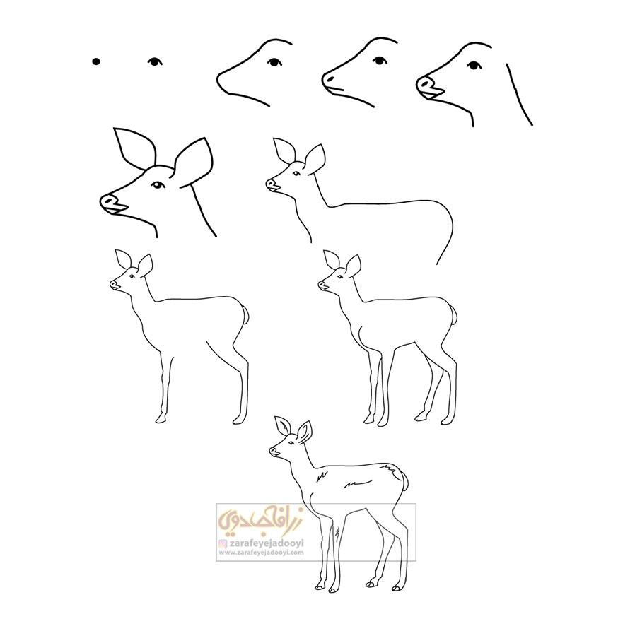 زرافه-جادویی-نقاشی-ساده-آهو