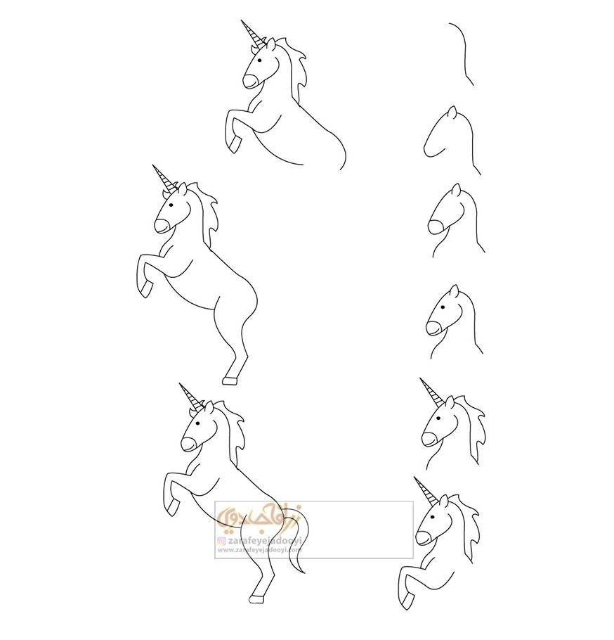 زرافه-جادویی-نقاشی-ساده-اسب-شاخدار