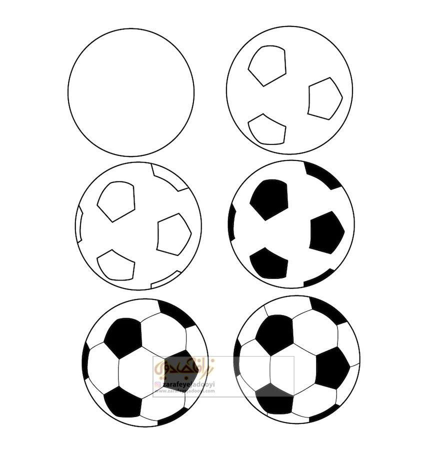 زرافه-جادویی-نقاشی-ساده-توپ-فوتبال