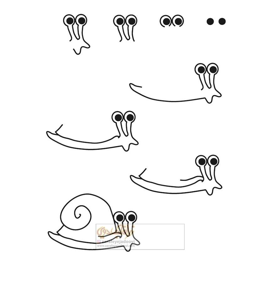 زرافه-جادویی-نقاشی-ساده-حلزون