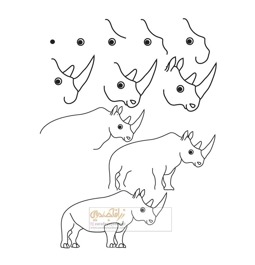 زرافه-جادویی-نقاشی-ساده-حیوانات-کرگدن