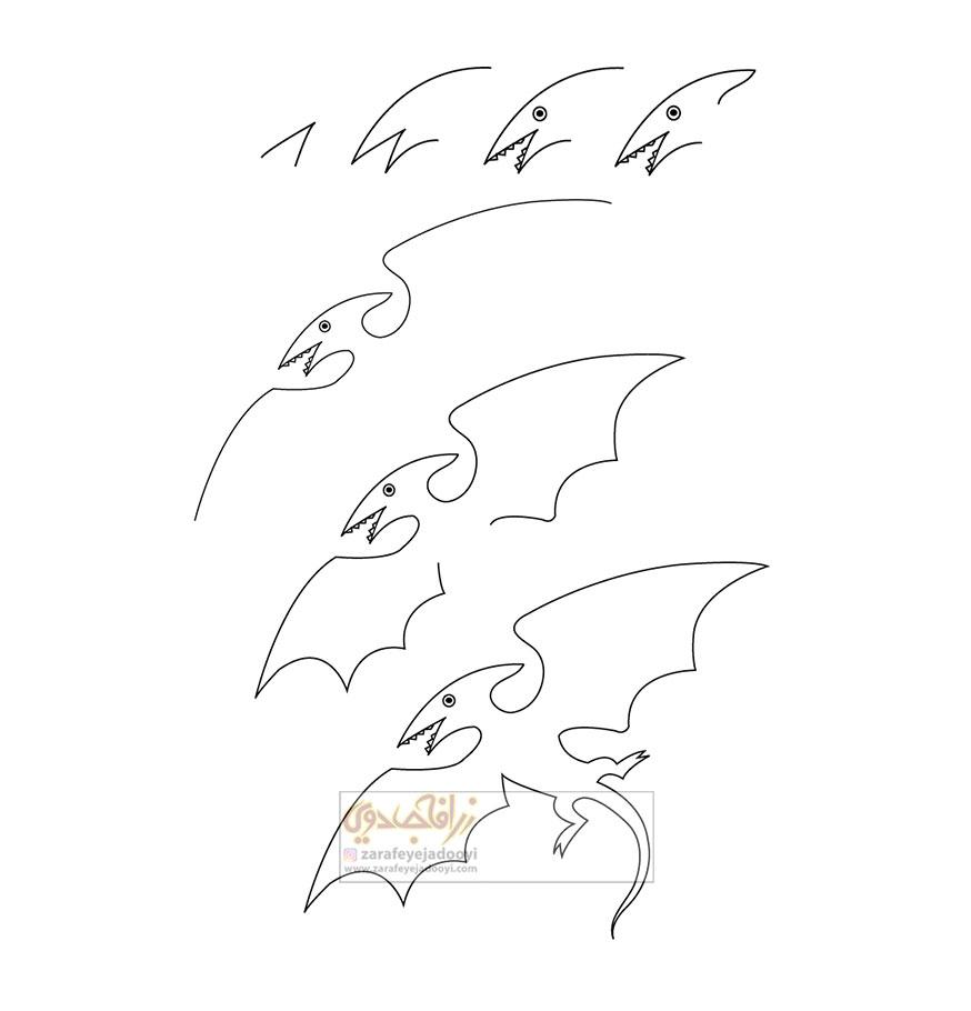 زرافه-جادویی-نقاشی-ساده-دایناسور-پرنده