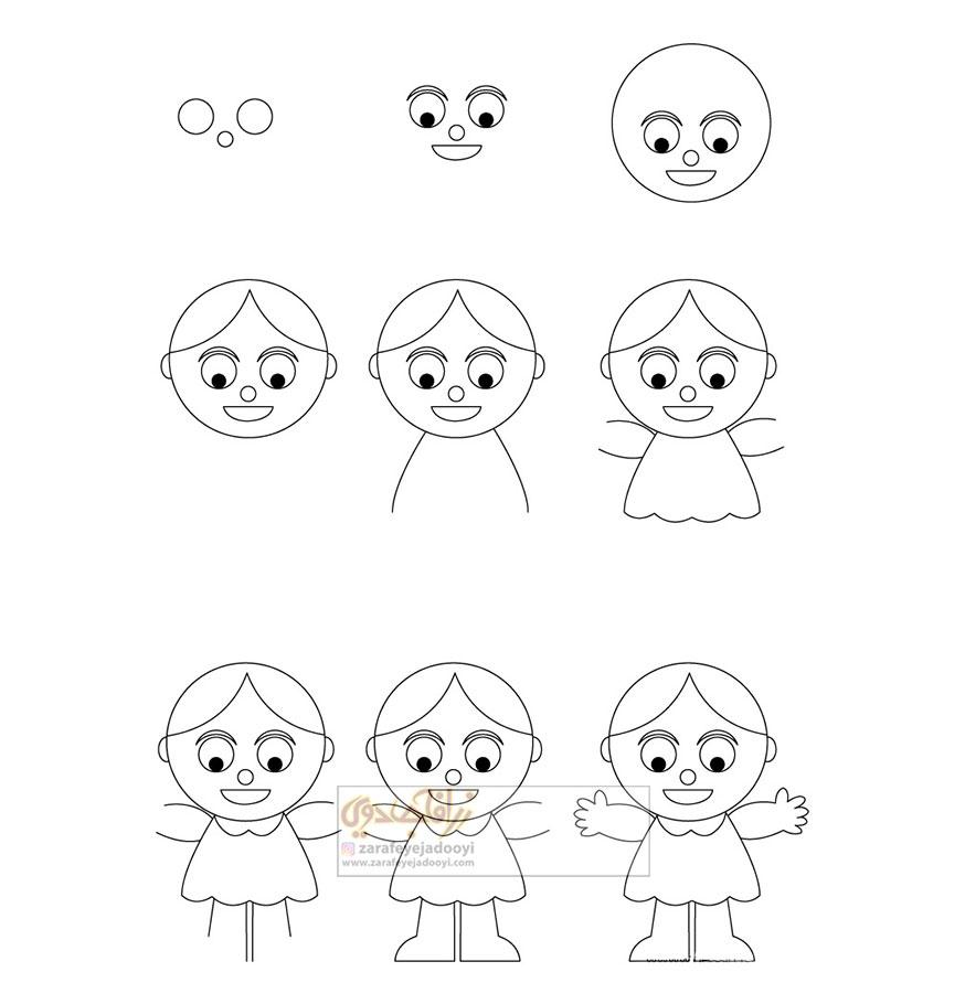 زرافه-جادویی-نقاشی-ساده-دختر-عروسکی