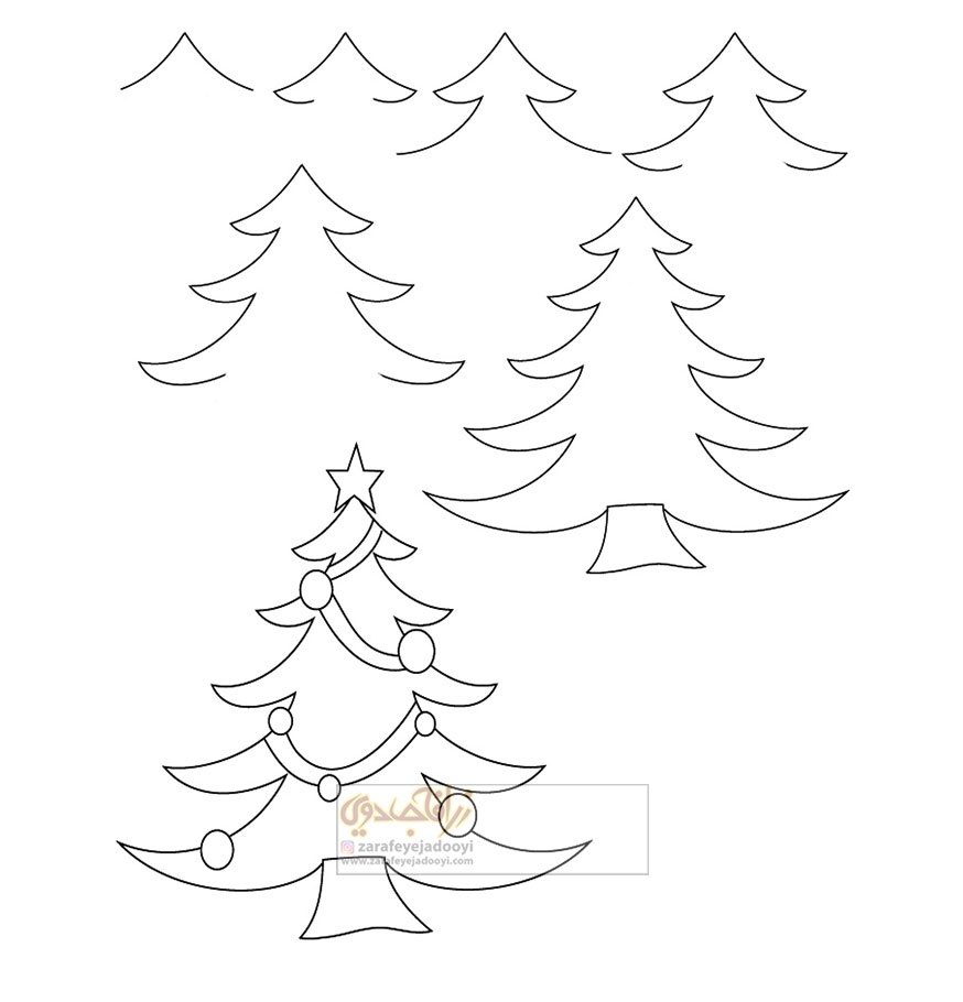 آموزش قدم به قدم نقاشی ساده درخت کریسمس