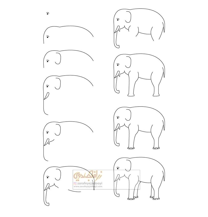 زرافه-جادویی-نقاشی-ساده-فیل