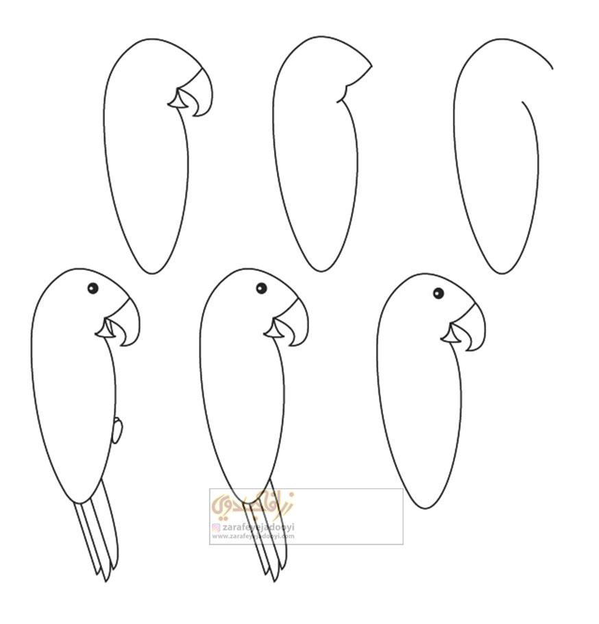 زرافه-جادویی-نقاشی-ساده-پرنده-طوطی