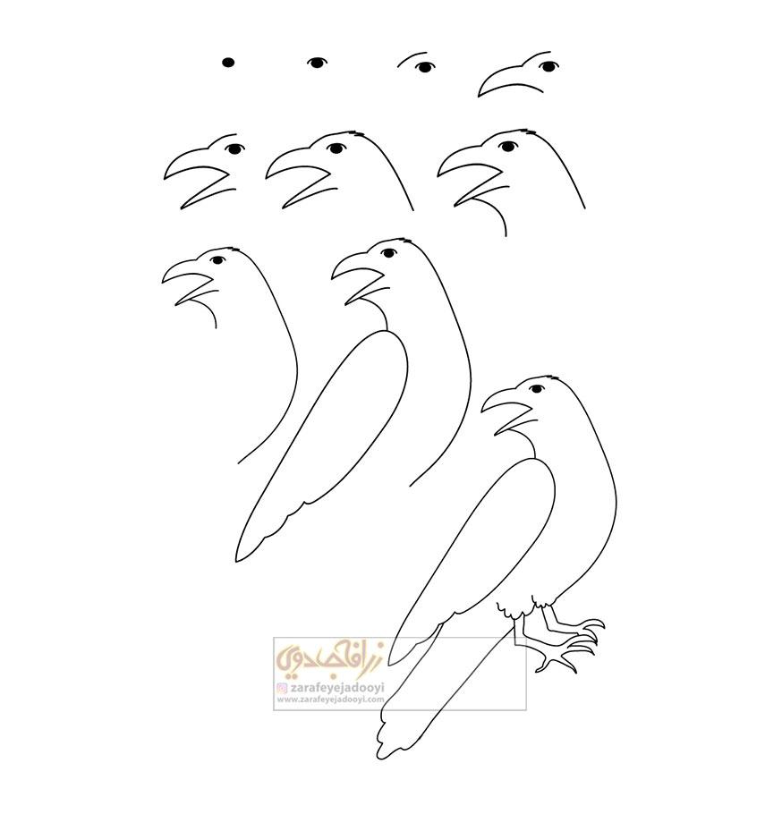 زرافه-جادویی-نقاشی-ساده-پرنده-کلاغ