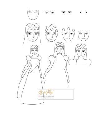 نقاشی پرنسس زیبا ساده