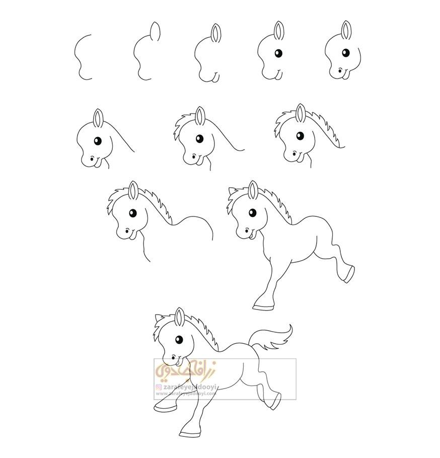 زرافه-جادویی-نقاشی-ساده-کره-اسب