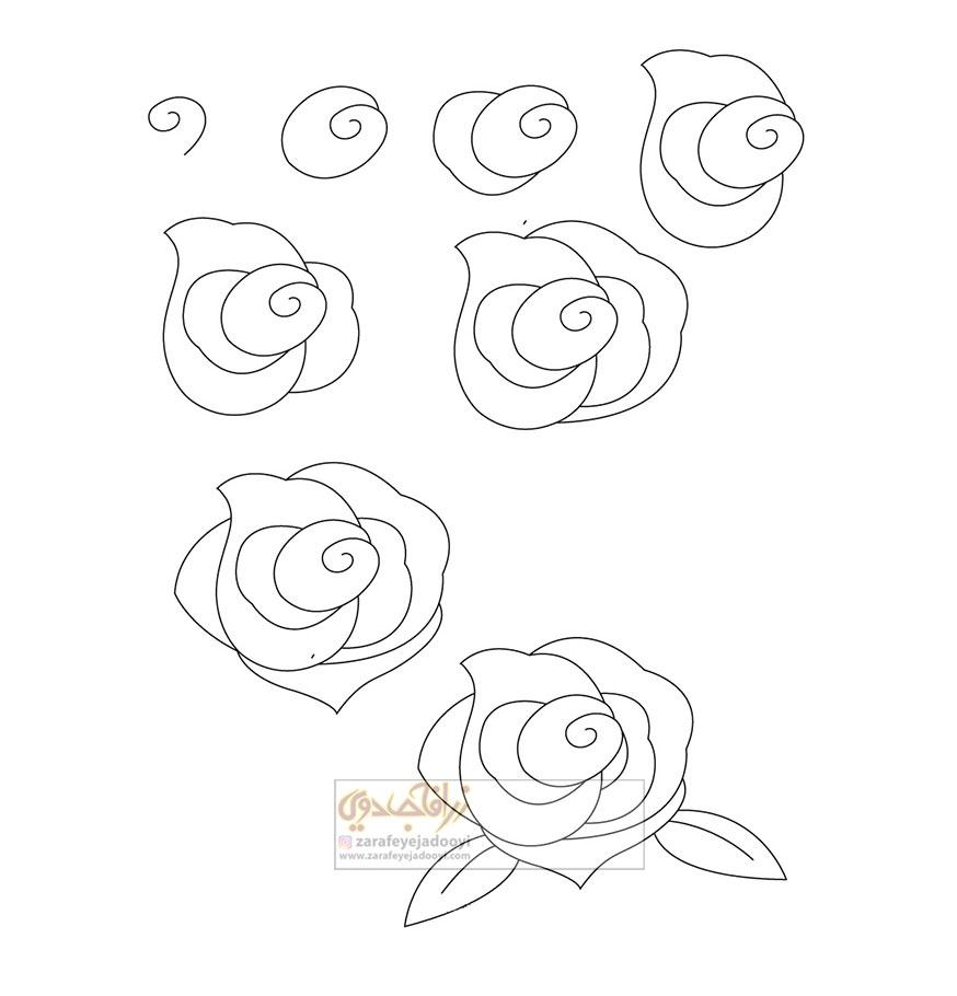 آموزش قدم به قدم نقاشی ساده گل رز
