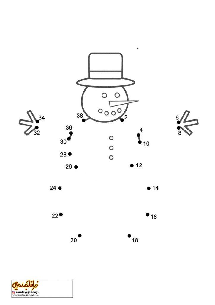 نقاشی نقطه به نقطه آدم برفی 2