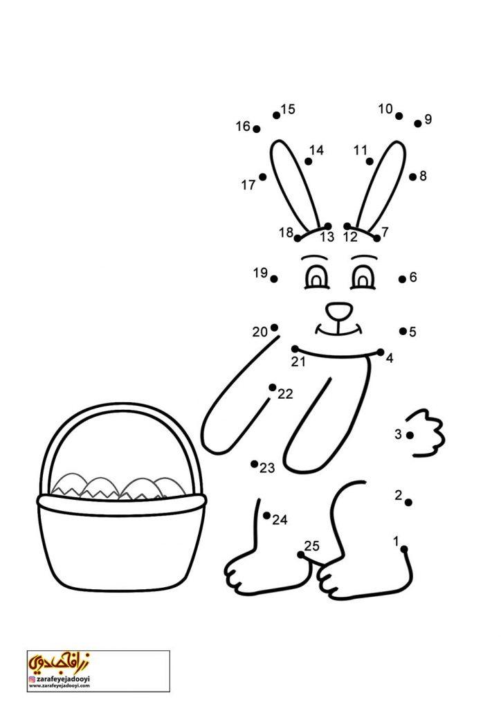 نقاشی نقطه به نقطه خرگوش و سبد تخم مرغ